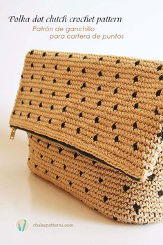 Crochet pattern for polka dot clutch, in tapestry crochet, chart with symbols…