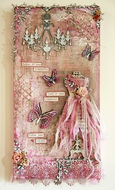 Michelle Grant desiGns: This has really got me thinking. A canvas, a hand drawn dress stand, stamping, paper, scraps of lace and .....wow...