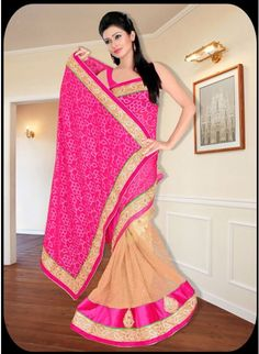 Eyecatching Pink & Beige Georgette #Saree With Patch & Lace Work