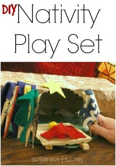 Make your own DIY Nativity set for play and pretend with recycled cardboard and clothes pins.  Kids can act out the Christmas story on a small scale with this homemade nativity.