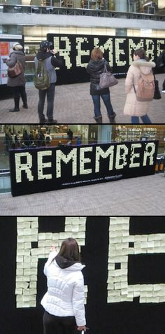 """A 30-ft wall of sticky notes that spelled """"Remember"""" was installed in downtown Vancouver. Each note carried a reminder for the Alzheimer's Society of B.C.'s annual Walk for Memories. 
