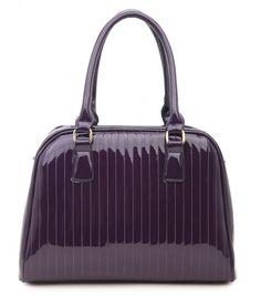 PURPLE - Classic Cora Plain Patent Tote Handbag With Straight Lining Detail - The Handbag Hut