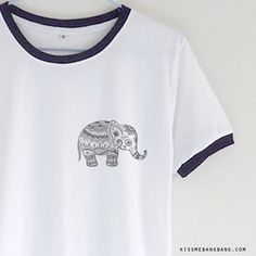tribal elephant_Ringer Tee_White_Zoom