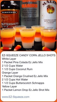 Candy Corn Jell-O Shots - Halloween food for party Halloween Cocktails, Halloween Jello Shots, Halloween Food For Party, Halloween Treats, Halloween Stuff, Jello Shots Recept, Best Jello Shots, Jello Shot Recipes, Alcohol Drink Recipes
