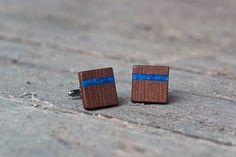 WOODEN CUFFLINKS  Spalted  OAK Wood with Blue by KajzarsWoodWork