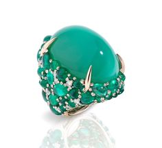 Pomellato Pom Pom griffe ring featuring a green chrysoprase surrounded by cabochon emeralds and diamonds. Gems Jewelry, Jewelry Accessories, Fine Jewelry, Jewelry Design, Pomellato, Lotus Flower Engagement Ring, Cocktail Rings, White Gold Diamonds, Beautiful Rings