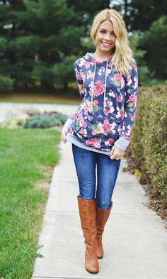 Jamie Lee - Floral Hooded Top | Navy RESTOCK, $39.00 (http://www.jamieleeboutique.com/floral-hooded-top-navy-restock/)