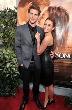 Miley Cyrus and Liam Hemsworth posed together at their The Last Song premiere in LA during March 2010.