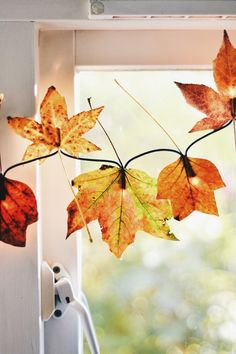 If you're looking for a really easy, fun and inexpensive way to bring some autumn decor into your home, this is for you! All it takes is a string of lights and some pretty fall leaves.