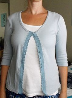 How to add edging to a too small shirt to make it a cardigan.