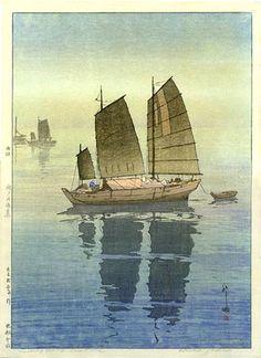 hanga gallery . . . torii gallery: Sailing Boats, Forenoon by Hiroshi Yoshida    1926