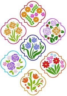 Framed Florals  Formats: pes, shv, hus, jef, vip, dst, exp, & xxx  Beautiful Floral Frames. Set of seven -- each measures 4.85 x 4.85