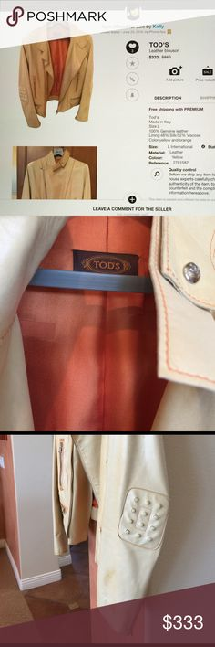 Tod's Leather bike Jacket Size L, 100% Genuine Leather, color;yellow and orange, worn in good condition(left arm has stains:not cleaned yet), lining:48% Silk/52% Viscose, price reflects its condition Tod's Jackets & Coats