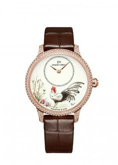 Petite Heure Minute Rooster | Ivory Grand Feu enamel dial with miniature painting. 18-karat red gold case set with 232 diamonds, total of 1.23 carat. Self-winding mechanical movement. Power reserve of 68 hours. Diameter 35 mm. Numerus Clausus of 28