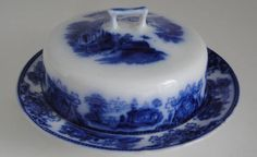 Flow Blue round covered butter dish in Shanghai pattern by W.H. Grindley c.1891.