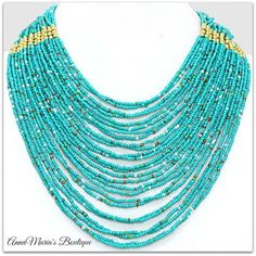 """TIERED BOHO TURQUOISE GOLD SEED BEAD MULTISTRAND CHUNKY STATEMENT NECKLACE 18"""" #Unbranded #TieredStatementBead"""