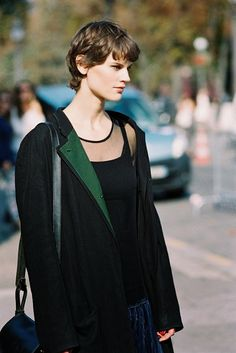 Saskia de Brauw, after Chanel, Paris, September 2014. Sheer black top.