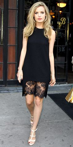 Design Inspiration, Georgia May Jagger | vintage lace hem makes a silk top into a great LBD