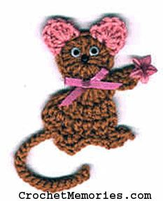 Crochet a cute little mouse for your fridge. Mizi is an adorable crochet mouse with big pink ears, long tail, and ribbon bow tie. Make one for yourself, for a friend, or just because!