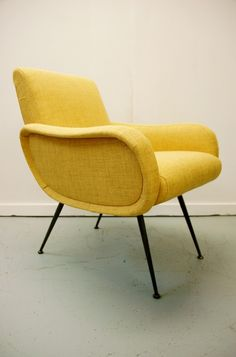 In stock: 1950s Italian armchair reupholstered in yellow. #OsiModern #midcentury #chair