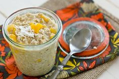Coconut Mango Overnight Oatmeal: Overnight oatmeal in a jar is the easiest breakfast ever! This Coconut Mango Overnight Oatmeal Recipe is both delicious & healthy too. The Oatmeal, Coconut Oatmeal, Overnight Oatmeal, Overnight Breakfast, Healthy Breakfast Recipes, Vegetarian Recipes, Cooking Recipes, Healthy Recipes, Healthy Breakfasts