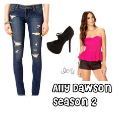 """""""Ally Dawson season Inspired Outfit"""" by rossome ❤ liked on Polyvore featuring Forever 21 and Charlotte Russe"""