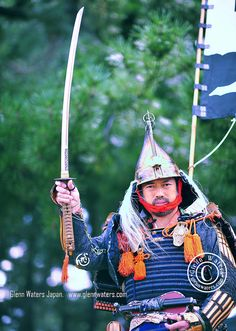 Samurai parading, holding the 700 year old sword, for festival in Aomori, Japan