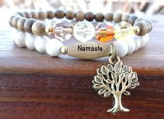 Yoga Bracelet with Tree of Life and your choice of word.