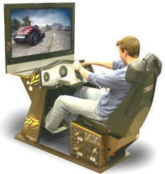 Home Pro Racing Simulator Arcade Machine - Sit back and relax in your very comfortable, real soft-leather seat and enjoy a totally immersive and realistic racing or flying environment in the first simulator system created and designed specially for home and residential use !