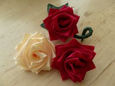 How to make a rose flower with ribbon, boutineer or corsage for Valentin...