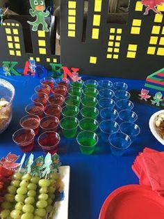 Kids Birthday Ideas for Motto Party PJ Mask - Pj Masks Birthday Cake, Superhero Birthday Party, 6th Birthday Parties, 3rd Birthday, Birthday Ideas, Avengers Birthday, Avenger Party, Pjmask Party, Party Drinks