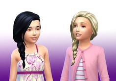 The Sims 4   My Stuff: EP02 Get Together Braid Side Hairstyle Converted for Girls   hairs for female child