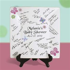 12 inch Square Bridal or Baby Shower Autograph Plate with Butterfly Design