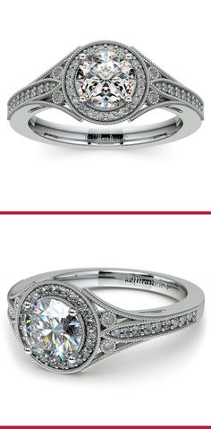 Forty four round cut diamonds (depending on center stone) are pave set in this white gold diamond engagement ring setting with milgrain detail and an Art Deco inspired structure, set with your choice of center diamond.