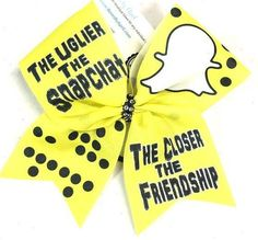 Bows by April - The Uglier the Snapchat The Closer the Friendship Sublimated Cheer Bow, $15.00 (http://www.bowsbyapril.com/the-uglier-the-snapchat-the-closer-the-friendship-sublimated-cheer-bow/)