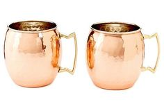S/2 Hammered Copper Moscow Mules, 16 Oz   Set the Table   One Kings Lane