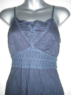 Morgan blue denim look tye dye tiered lined boho/gypsy dress size 10 never worn   eBay