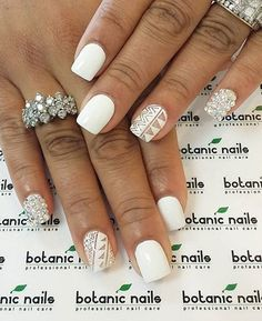 Afraid of overdoing a design? Well you can have it on one nail such as a nail full of diamonds or one with tribal designs. Then you can just combine it with more simpler nails to tone it down. Simple Nails Design, Simple Nail Art Designs, Short Nail Designs, Beautiful Nail Designs, White Glitter Nails, Glittery Nails, White Nail Art, Wedding Acrylic Nails, Wedding Nails