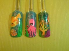 This is my under the sea nail art I made