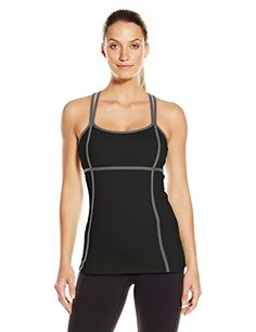 a179aee91d40e9 Colosseum Women s Rainforest Tank Top Sporty tank with contrast seaming and  crisscross strappy back Built-in shelf bra with removable cups Flat-seam ...