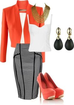 Awesome Striped Outfit Ideas for Different Occasions - Do you like those striped outfits? Why do you avoid wearing them? Although most of the striped outfits appear to be catchy and fascinating, there are . Business Outfits, Business Fashion, Business Attire, Mode Outfits, Fashion Outfits, Womens Fashion, Skirt Outfits, Latest Fashion, Classy Outfits