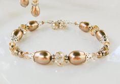 New Swarovski Bronze Pearl Golden Shadow by HisJewelsCreations, $42.00