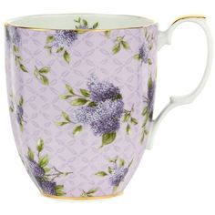 Royal Albert 100 Years 1990 Hartington Lane Mug ($30) ❤ liked on Polyvore featuring home, kitchen & dining, drinkware, fillers, cups, kitchen, mugs, tea mug, floral mug and royal albert cup