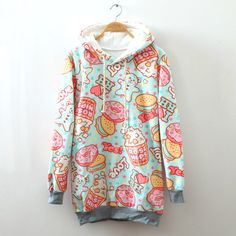 Cream dessert cartoon fleece hoodie from Lovely Kawaii. It's a must buy! <3 <3 #kawaii