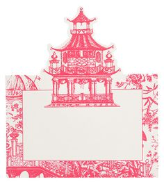 Pink Pagoda Chinoiserie Place Cards $4.50 || Shop Hattan Home