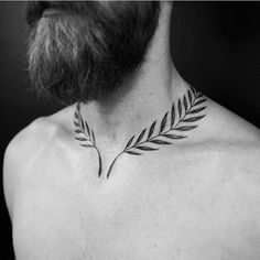 114 Tantalising Tattoo Designs For Men - These tattoo designs for men are mind blowing, exquisite pieces of art! If you need inspiration, thi - Bone Tattoos, Neck Tattoos, Body Art Tattoos, Sleeve Tattoos, Tatoos, Laurel Tattoo, Laurel Wreath Tattoo, Hals Tattoo Mann, Tattoo Hals