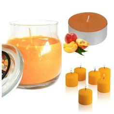 #Peach #ScentedCandles Collection. Glass #jarcandle  #scentedvotivecandles  #scentedtealights #homefragrance