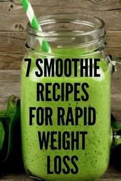 7 Smoothie Recipes For Rapid Weight Loss - Military Diet Detox Drinks, Healthy Drinks, Healthy Recipes, Diet Recipes, Nutrition Drinks, Detox Juices, Recipies, Healthy Smoothies, Detox Smoothies