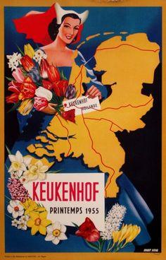 Lithography Keukenhof 1955, artist: Guust Hens