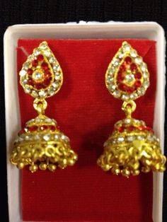 Indian jewelry - small red rhinestone earrings | HDaccessories